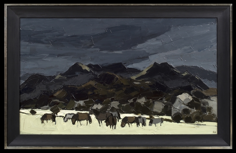 Kyffin WILLIAMS - Painting - Ponies on the Traeth