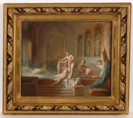 """Jean-Jacques François I LEBARBIER - Painting - """"La Grotte D'Egerie"""", important bozzetto, 1770s"""