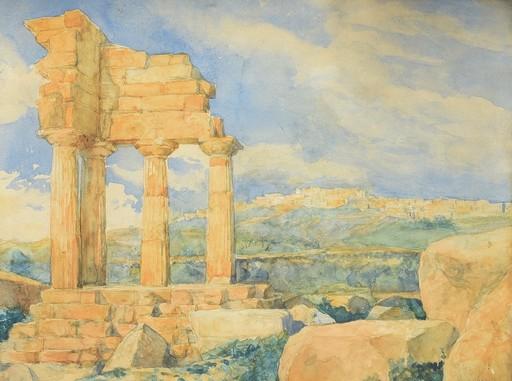 Anne-Louis GIRODET - Dibujo Acuarela - Agrigente Paysage Le Temple de Castors et Pollux