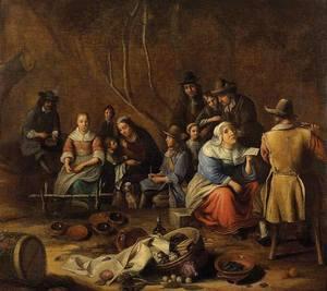 Gillis II VAN TILBURG (Attrib.) - Painting - Scène d'intérieur de Cuisine