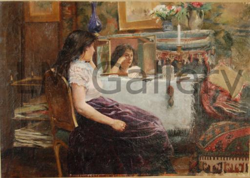 Ferdinand Joseph GUELDRY - Pintura - Jeune femme à sa toilette