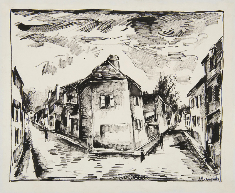 Maurice DE VLAMINCK - Zeichnung Aquarell - Vue de Valmondois