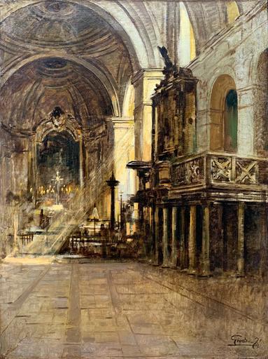 Felice GIORDANO - 绘画 - Interno di chiesa