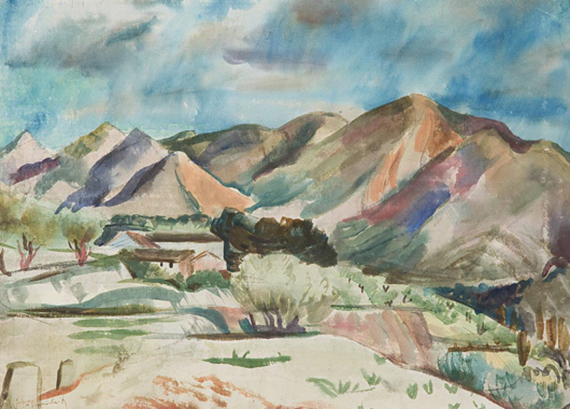 Willy EISENSCHITZ - Dibujo Acuarela - Bergige Landschaft (Paysage montagneux)