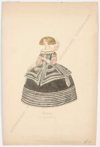 "Heinrich LEFLER - Dibujo Acuarela - ""Stage costume design"", watercolor, late 19th century"