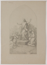 """Carl VON BLAAS - Drawing-Watercolor - """"Resurrection"""", Nazarene Drawing, middle 19th Century"""