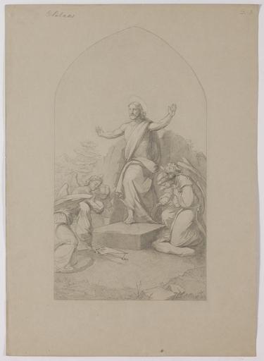 """Carl VON BLAAS - Zeichnung Aquarell - """"Resurrection"""", Nazarene Drawing, middle 19th Century"""