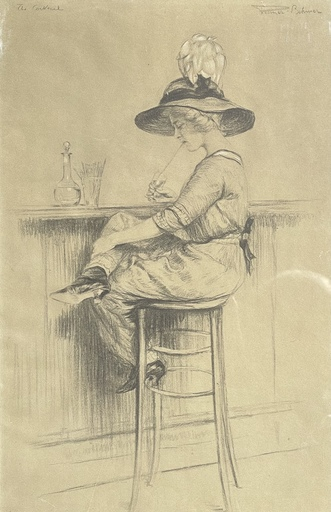 Hermann FENNER-BEHMER - Zeichnung Aquarell - Le cocktail