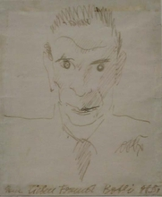 "Otto Rudolf SCHATZ - Drawing-Watercolor - ""Self-Portrait (?)"" , early 20th century"