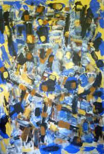 François GARROS - Pittura - Grand signe bleu jaune