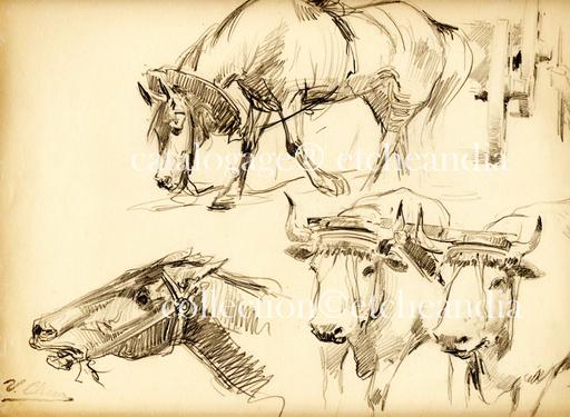"""Ulpiano CHECA Y SANZ - Drawing-Watercolor - """"œuvres d'inspiration pyrénéenne"""""""