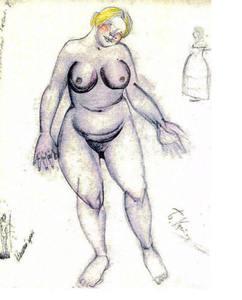 Boris Mikhailovich KUSTODIEV, Four drawings from a scrapbook