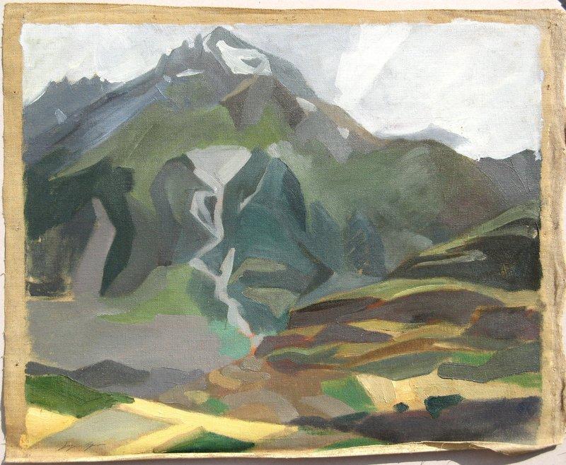 Suzanne AGRON - Painting - PAYSAGE DE MONTAGNE