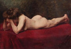 Augustin ZWILLER - Painting - Nu allongé
