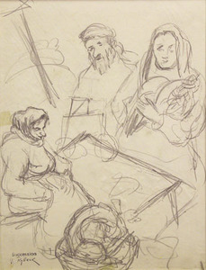 Issachar Ber RYBACK - Drawing-Watercolor - Market Scene