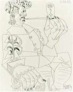 Pablo PICASSO - Print-Multiple - Vieux Corsaire a la Retraite Fumant sa Pipe