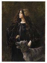 Cesare SACCAGGI - Peinture - Ritratto di donna in nero con molosso