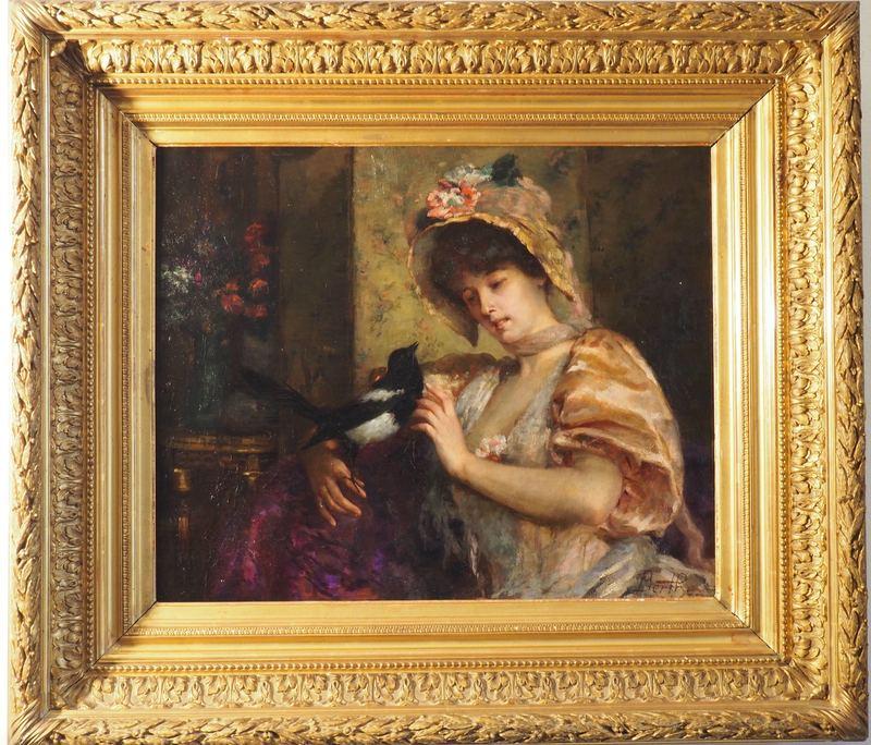 Louis Maurice BERTHE - Pittura - Jeune femme à l'oiseau
