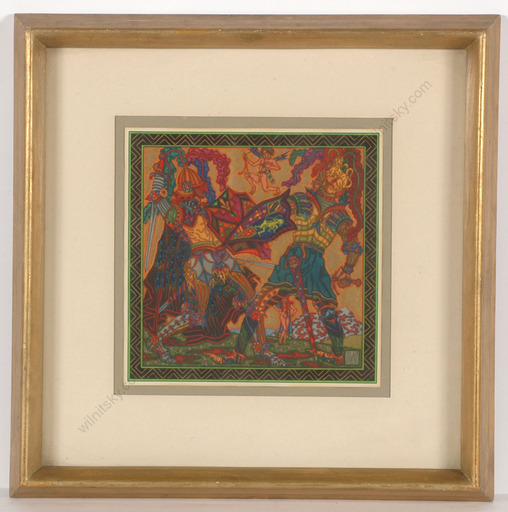 """Alfred WAAGNER - Zeichnung Aquarell - """"Knight fight"""", watercolor, 1910s"""