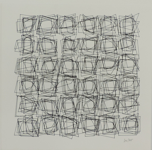Véra MOLNAR - Drawing-Watercolor - serie structure de quadrilatères