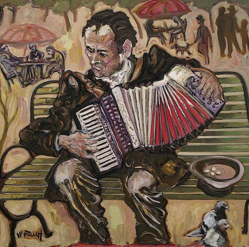 William FENECH - Peinture - l'Accordéoniste du square