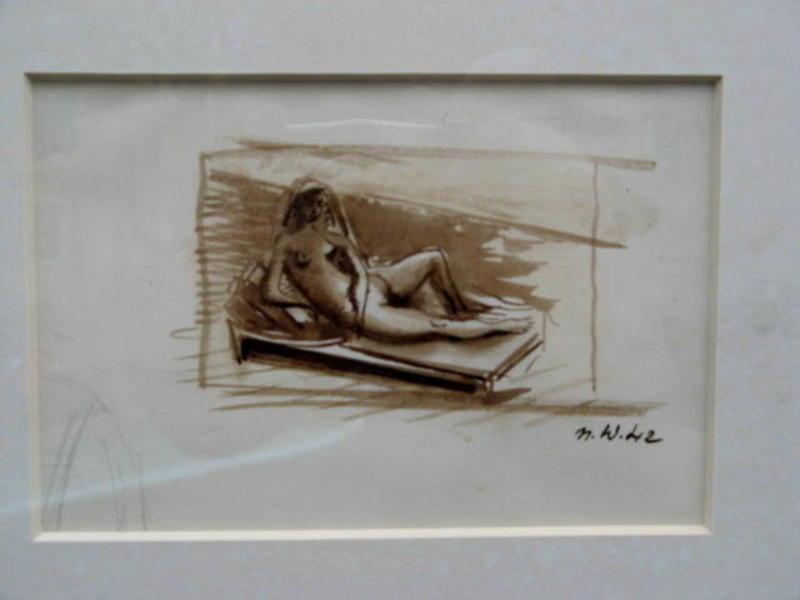 Nicolas WACKER - Dessin-Aquarelle - PETIT NU COUCHE