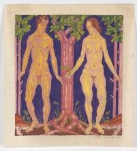 """Josef LACINA - Drawing-Watercolor - """"Adam and Eve"""" 1926, watercolor"""