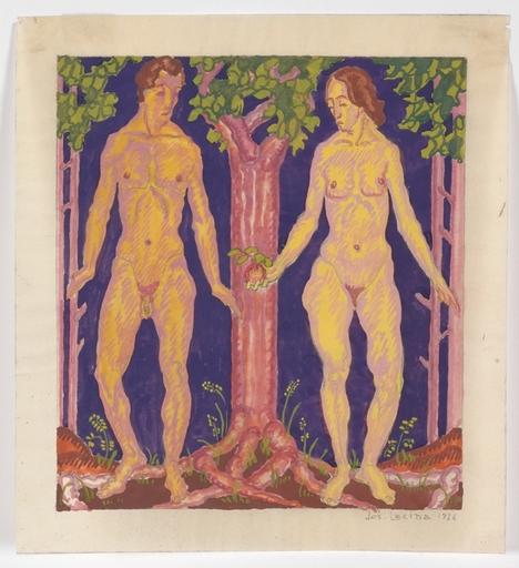 "Josef LACINA - Dibujo Acuarela - ""Adam and Eve"" 1926, watercolor"