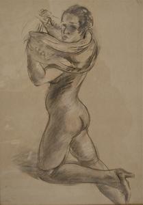 Henri FEHR - Dessin-Aquarelle - Femme dénudée.