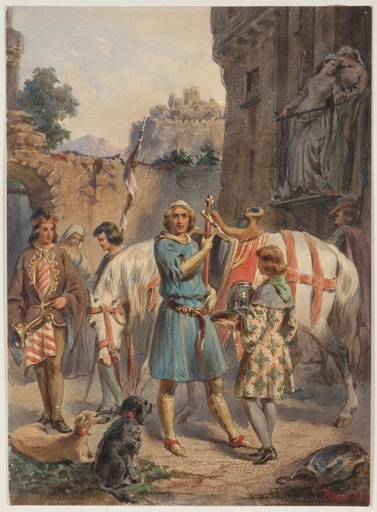 """Franz PITNER - Drawing-Watercolor - """"Before Crusade"""" by Franz Pitner"""
