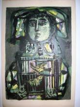 Antoni CLAVÉ - Grabado - Enfant à la cage
