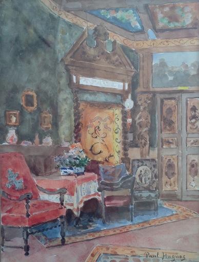 Paul Jean HUGUES - Dibujo Acuarela - Intérieur de style Louis XIII