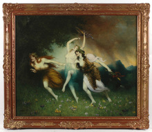 """Ferdinand LEEKE - Painting - Ferdinand Leeke (1859-1923) """"Nymphs fleeing a thunderstorm"""""""