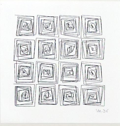 Véra MOLNAR - Zeichnung Aquarell - Cycle carré de méandre