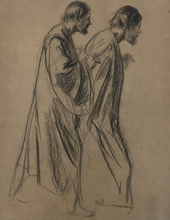 Max LIEBERMANN - Drawing-Watercolor - Figure Study of Paul with the Serpent before the Maltese