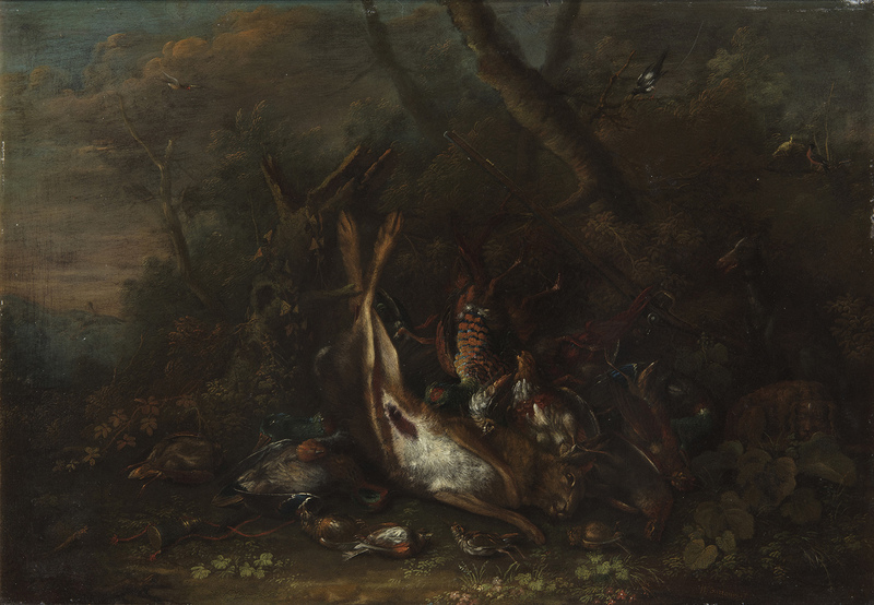 George William SARTORIUS - Painting - Natura morta con lepre