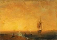 伊凡•康斯坦丁诺维奇•艾瓦佐夫斯基 - 绘画 - Farewell Scene on the Seashore