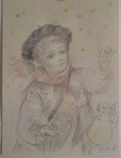 Lucien-Philippe MORETTI - Drawing-Watercolor - DESSIN CRAYON AQUARELLE SIGNÉ SIGNED DRAWING