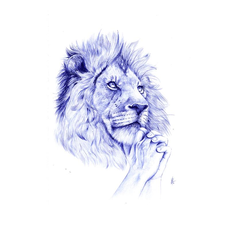 Youssef BOUBEKEUR - Dessin-Aquarelle - Lion Amoureux (La Fontaine)