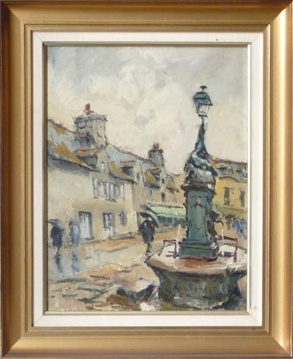 René LEFORESTIER - Painting - concarneau fontaine au crocodile