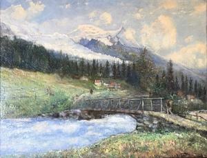 Emmanuel DE LA VILLÉON - Pintura - Mountain Village Landscape & Man Hiking