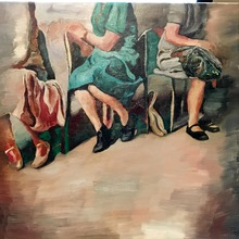 Robert DRAGOT - Painting - Femmes assises - (GO WEST) series