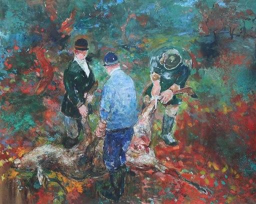 Jean COMMERE - Peinture - Chasse à Courre en Forêt de Compiègne