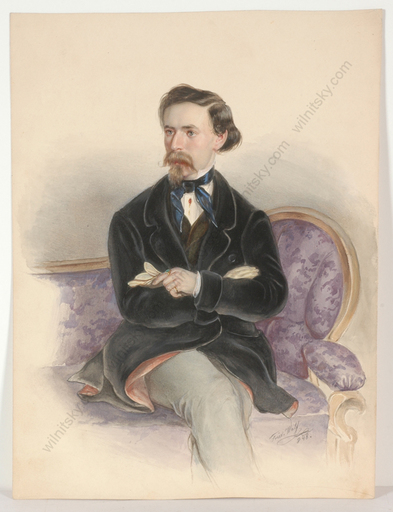 "Friedrich WOLF - Miniatura - ""Portrait of a Gentleman"", watercolor, 1848"