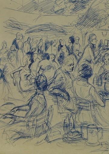 Claude RÉMUSAT - Drawing-Watercolor - BAYREUTH 63 (LE RESTAURANT DU PALAIS DES FESTIVALS), dessin
