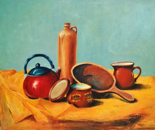 Guy TEISSEDRE - Pintura - Nature morte aux poteries de cuisine