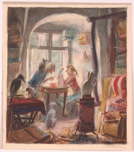 "Franz WINDHAGER - Zeichnung Aquarell - ""Animal Friends"" by Franz Windhager, ca 1930"