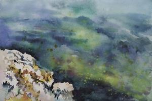 Galina VINDALOVSKAIA - Drawing-Watercolor - Sea Rock Seascape