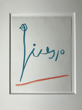 Pablo PICASSO - Dessin-Aquarelle - Signature Red & Blue
