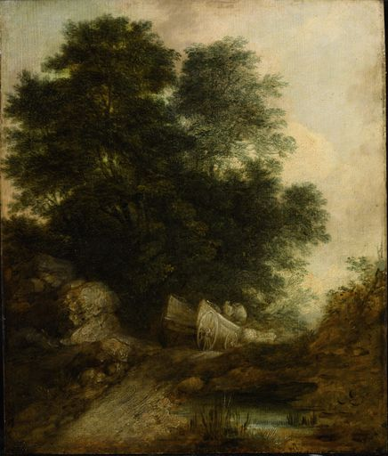 Thomas GAINSBOROUGH - Peinture - Wooded Landscape with Peasants in a Wagon